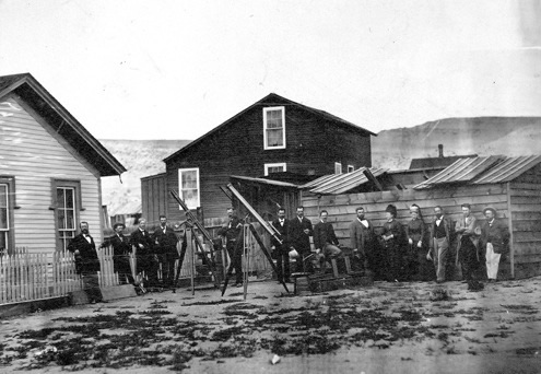 Thomas Edison (second from right) in Rawlins with an eclipse viewing party in 1878 - Carbon County Museum archives.
